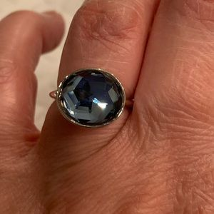 Silver and Blue Swarovski Ring Size 52